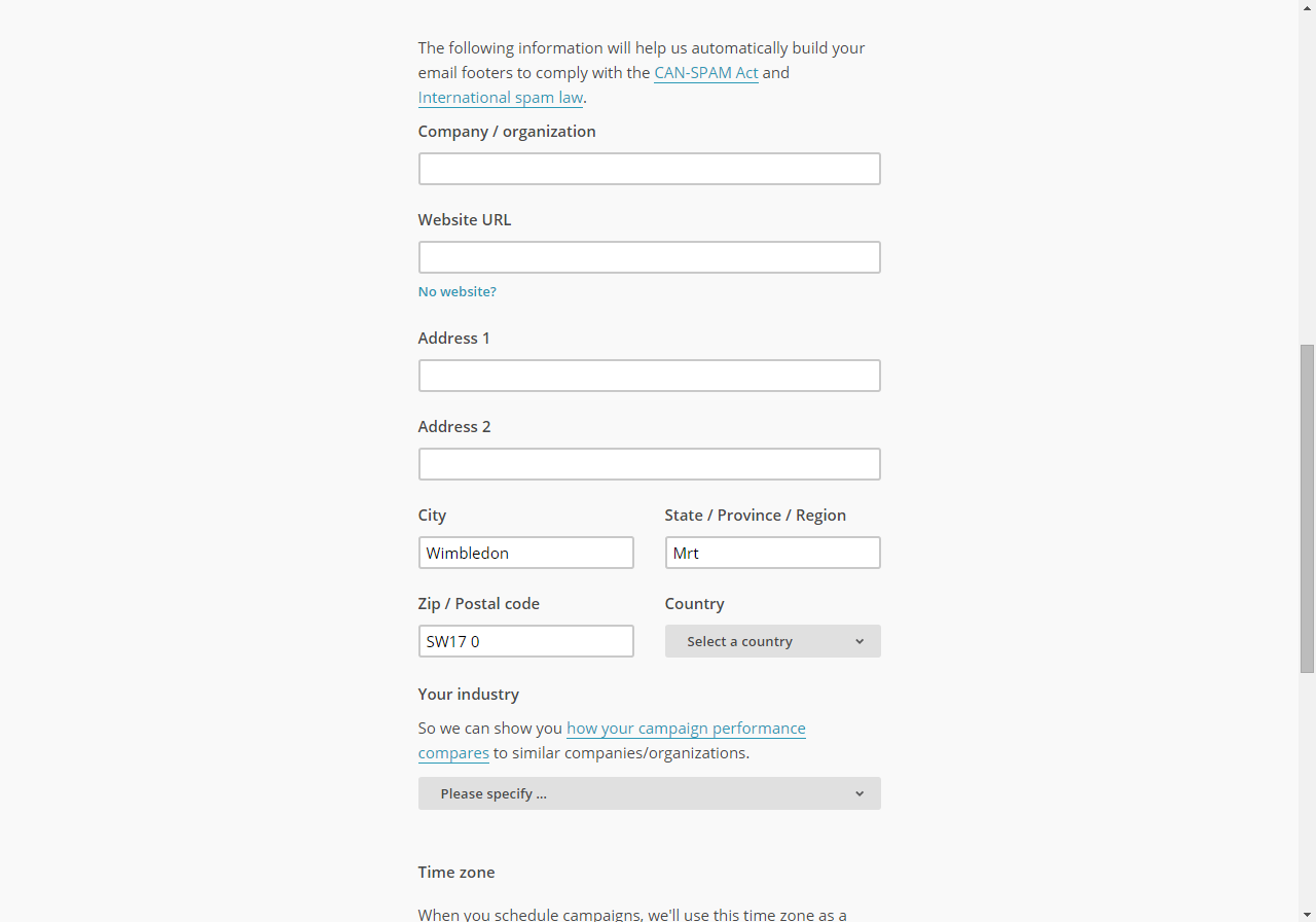 When to add your address to MailChimp and comply with anti-spam laws