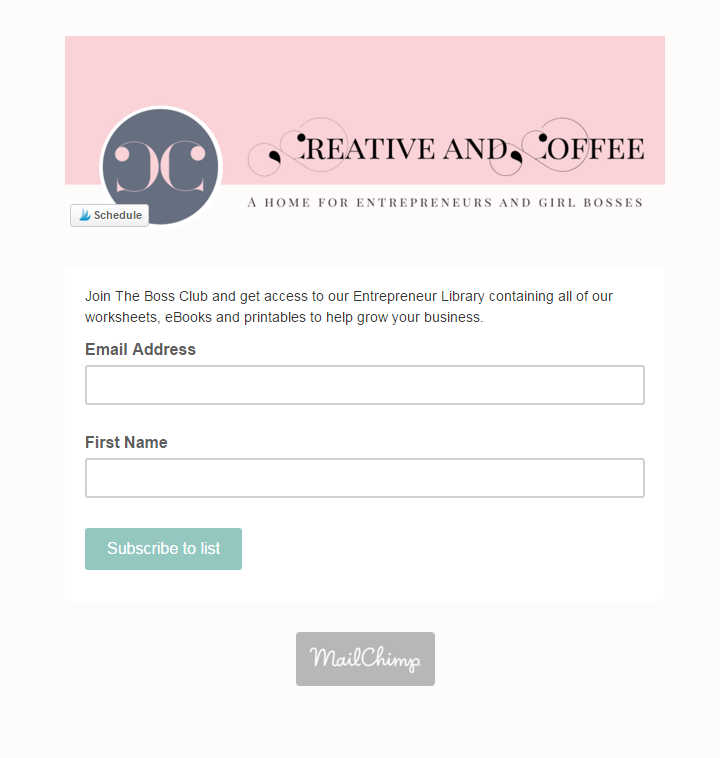 Creative and Coffee's Signup Form