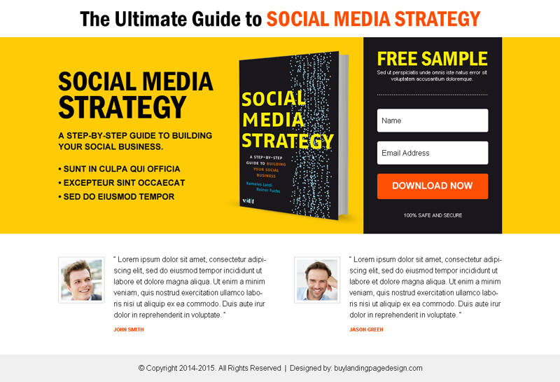 Buy eBook Landing Page example