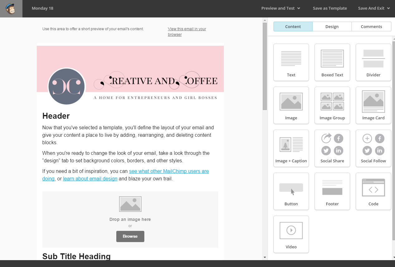 MailChimp Creative and Coffee email template
